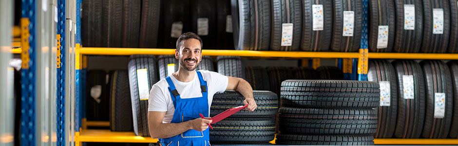 mechanic in tyre warehouse